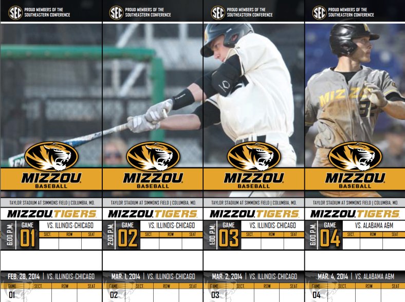 2014 Mizzou Tigers Baseball Season Tickets created and designed by JA Creative Group