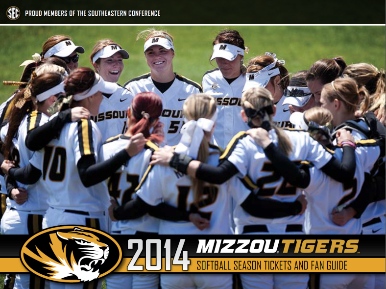 2014 Mizzou Tigers Softball Season Tickets and Fan Guide created and designed by JA Creative Group