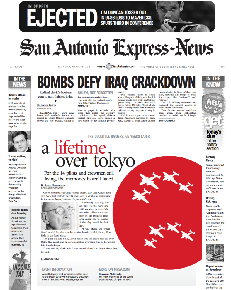 San Antonio Express News A lifetime over tokyo award winning Front Page created and designed by JA Creative Group