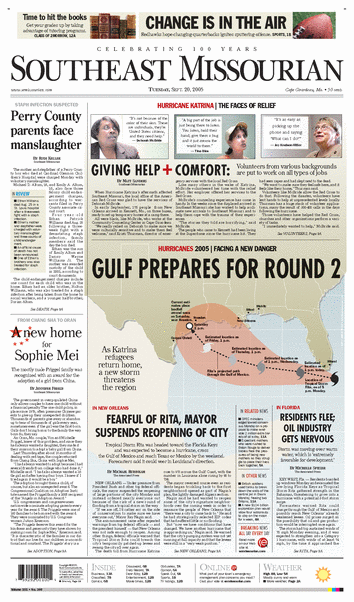 Southeast Missourian Hurricane Rita Infographic and Front Page created and designed by JA Creative Group