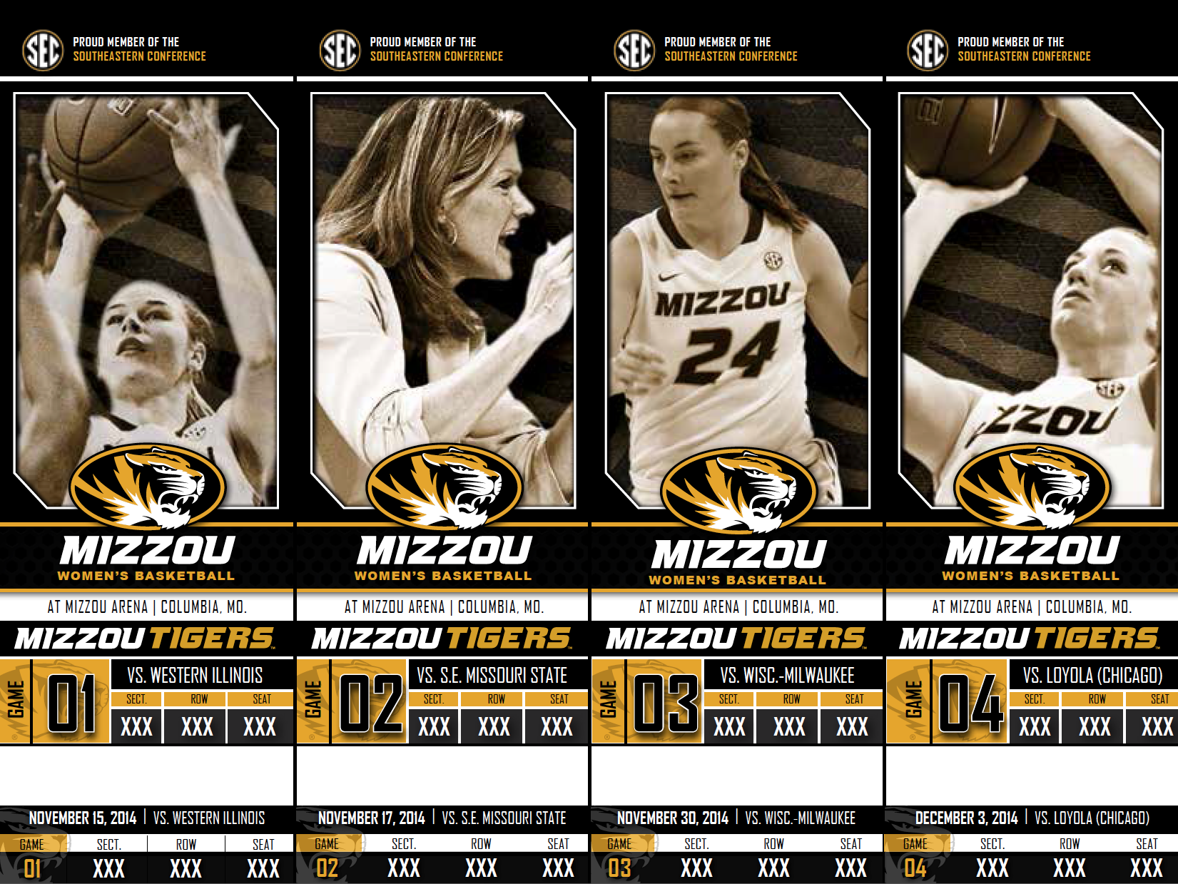2014-2015 Mizzou Tigers Women's Basketball Season Tickets created and designed by JA Creative Group