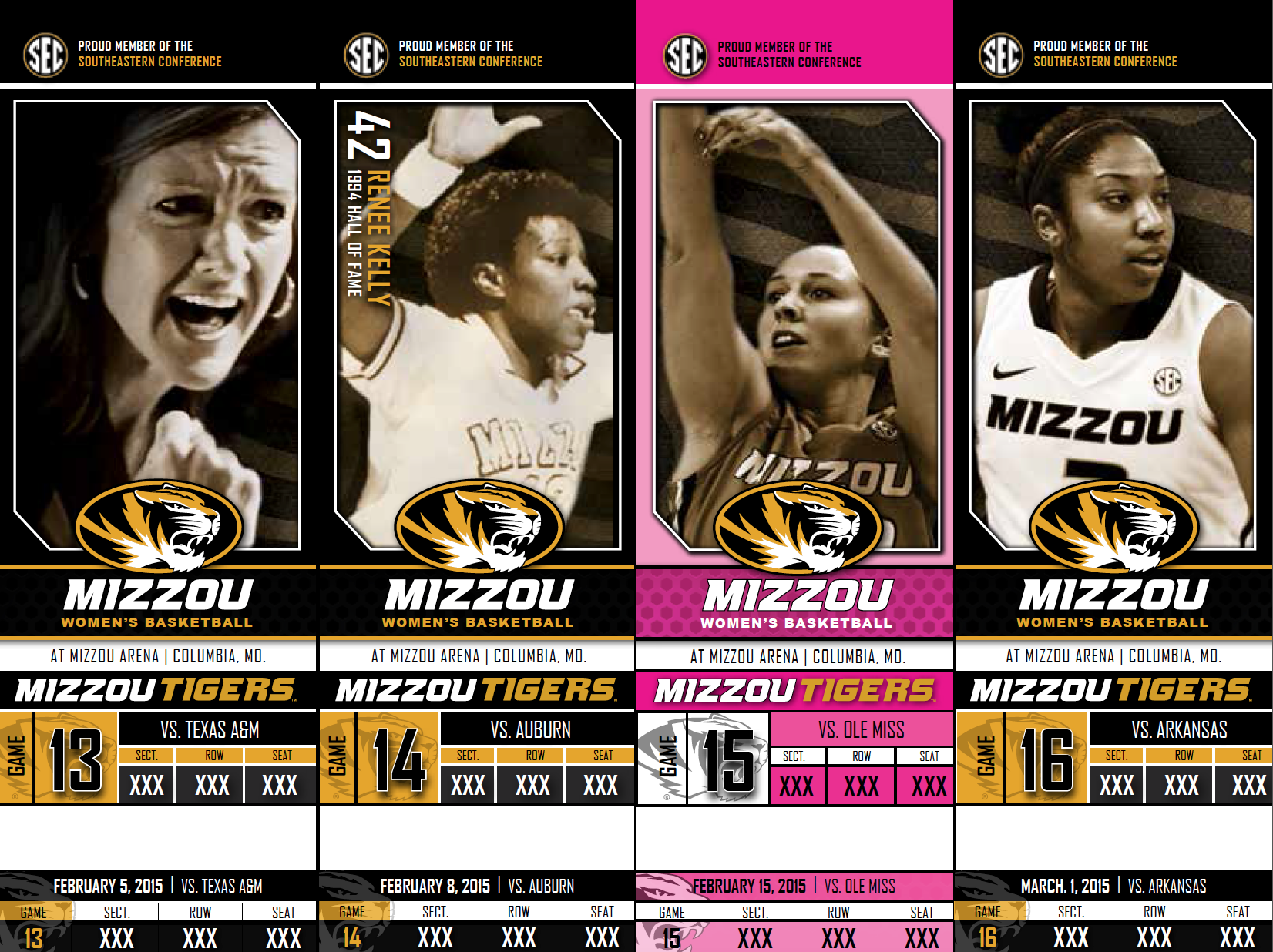 2015 Mizzou Tigers Women's Basketball Season Tickets with Breast Cancer Game created and designed by JA Creative Group