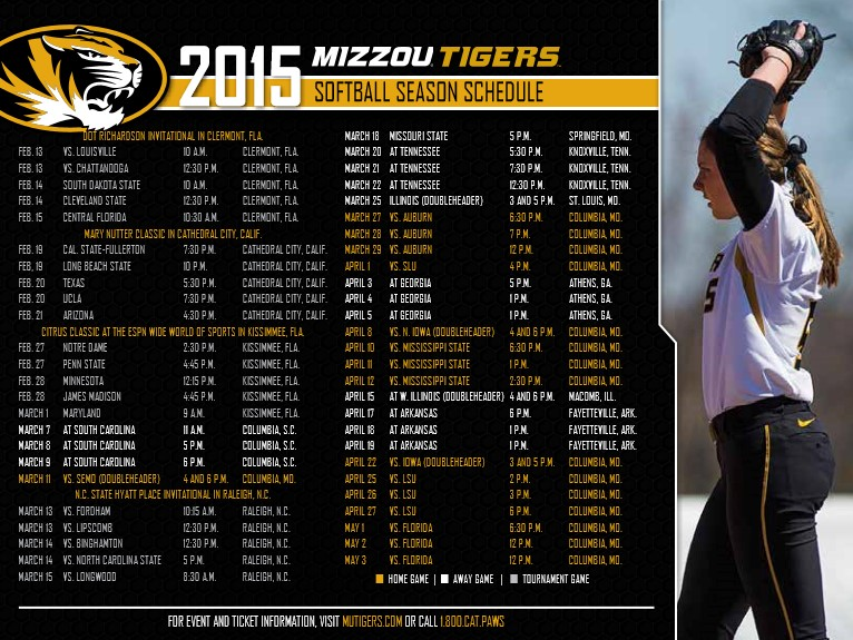 2015 Mizzou Tigers Women's Softball Season Schedule created and designed by JA Creative Group