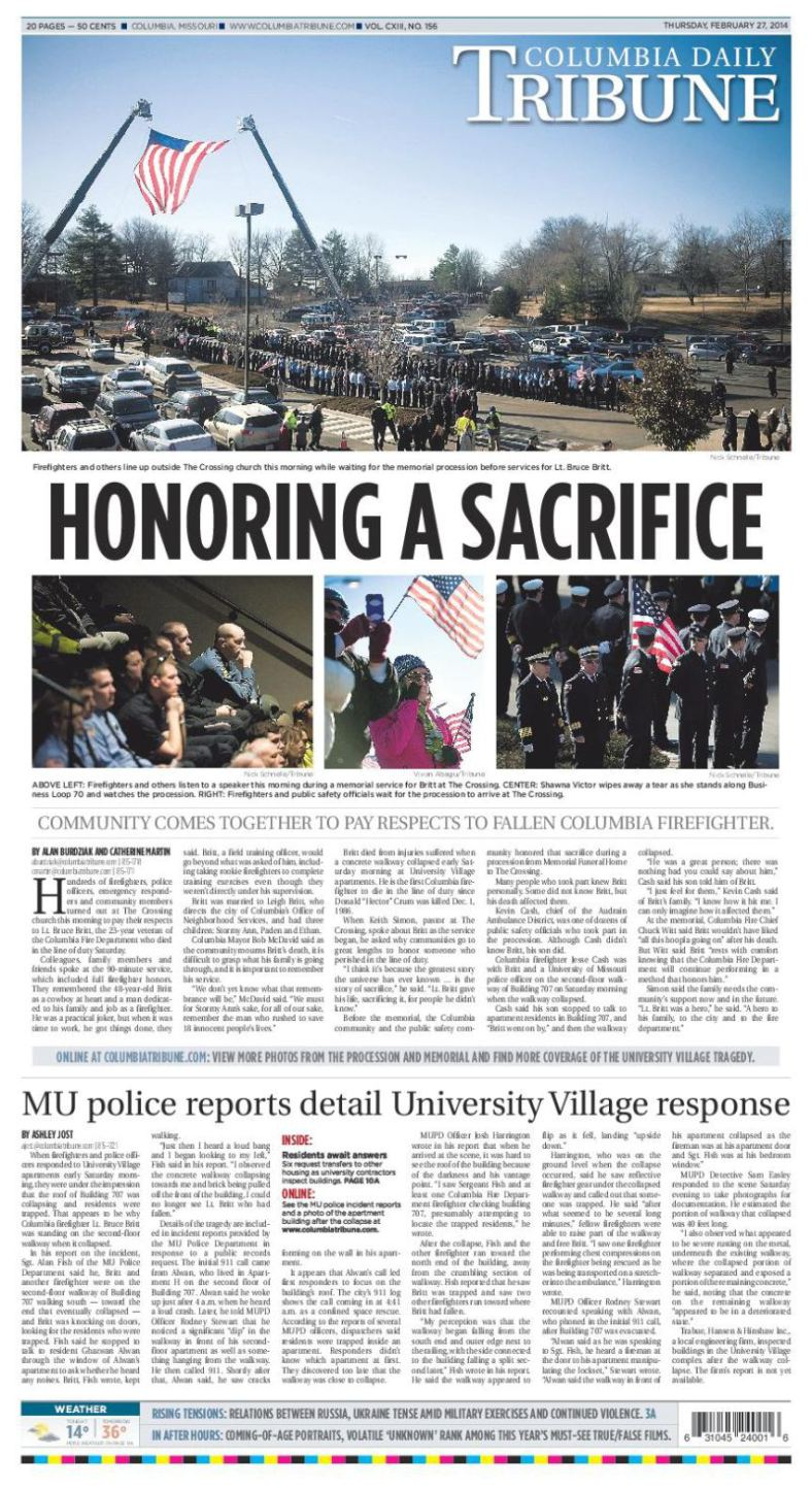 Columbia Daily Tribune Honoring a Sacrifice Firefighter designed by JA Creative Group