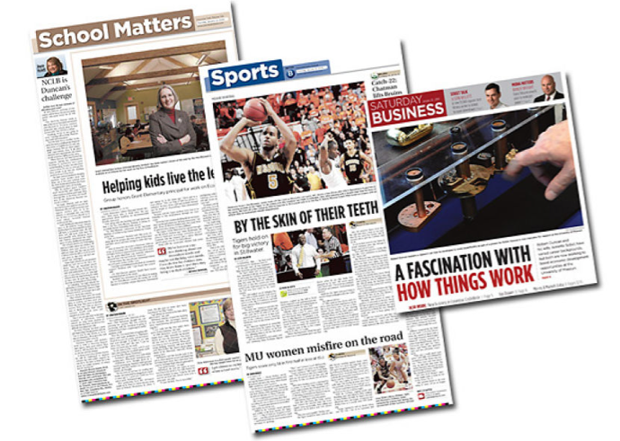Examples of Newspaper Redesign for the Columbia Daily Tribune by JA Creative Group