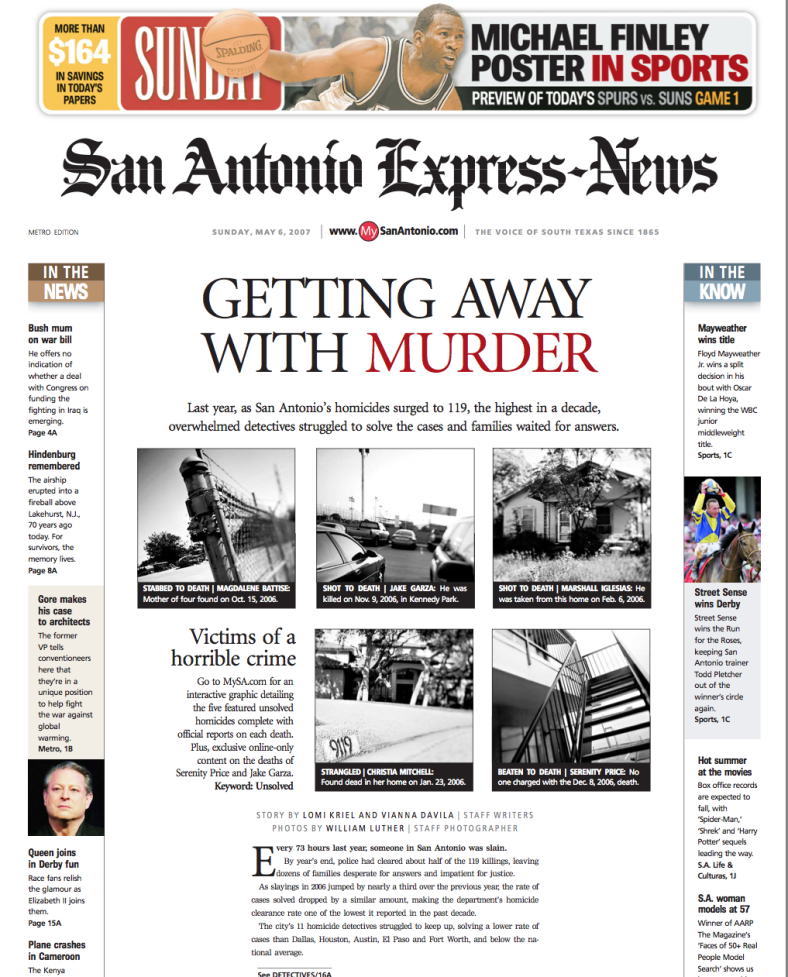 San Antonio Express News Getting Away with Murder Front Page designed by JA Creative Group