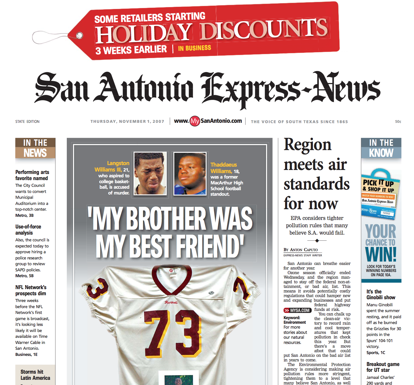 San Antonio Express News Holiday Discounts Murder Front Page created and designed by JA Creative Group