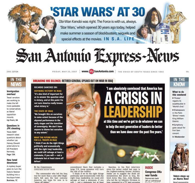 San Antonio Express News Star Wars Front Page created and designed by JA Creative Group