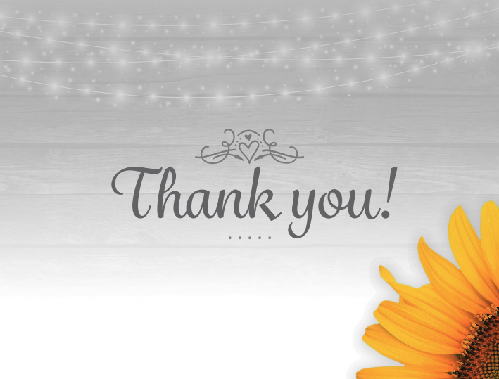 Wedding Twinkle Light and Sunflower Thank You Cards created by JA Creative Group