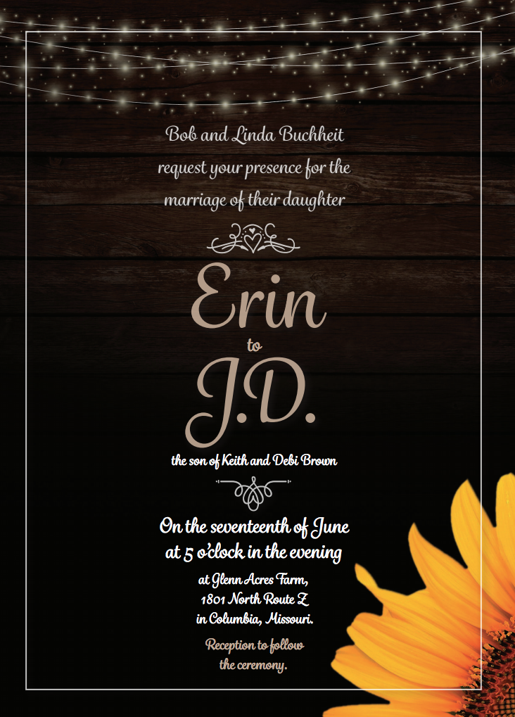 Wedding Twinkle Lights and Sunflower on wood Wedding Invitation created by JA Creative Group
