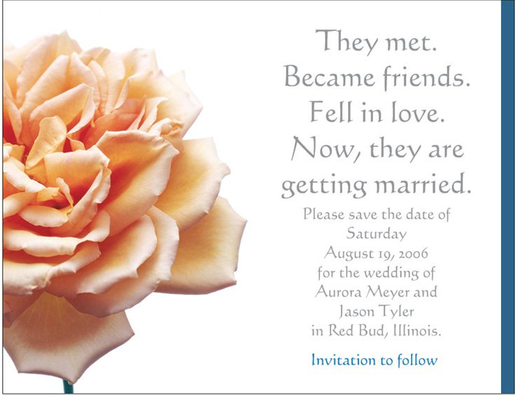 White Rose Save the Date Wedding Invitations created by JA Creative Group