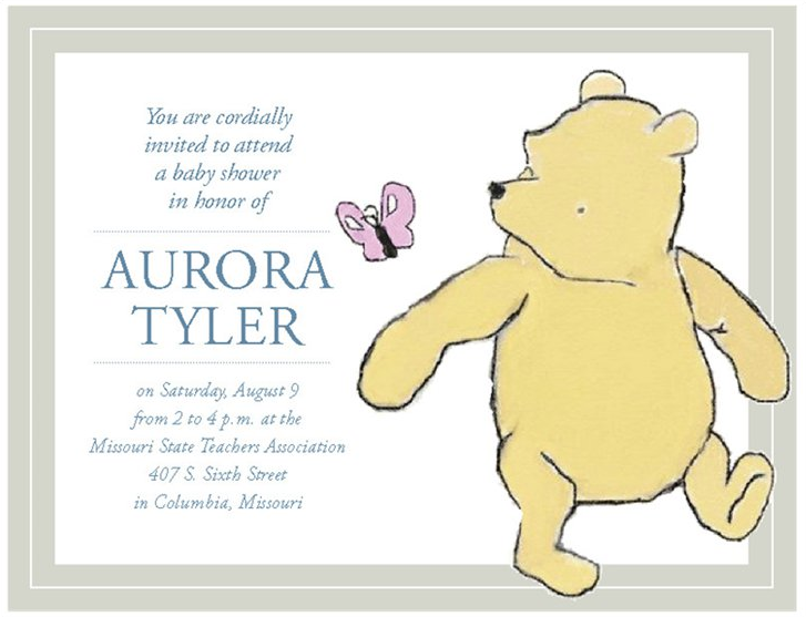 Winnie the Pooh Baby Shower Invitations created by JA Creative Group