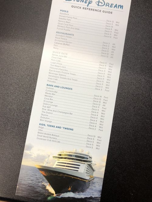 Disney Cruise Line Dream Ship Quick Reference Guide created by JA Creative Group